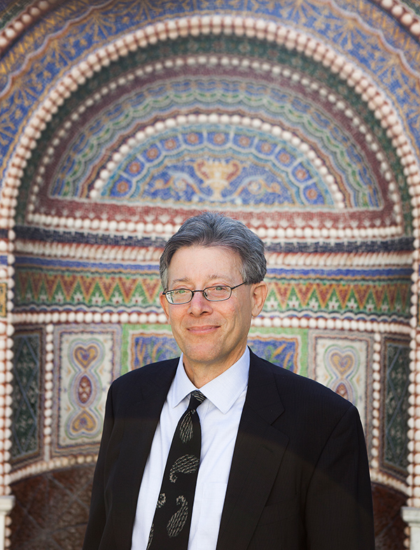 Getty Museum's senior curator of antiquities, Jeffrey Spier, in the East Garden at the Getty Villa