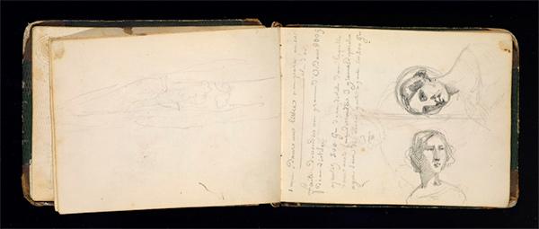Rosa Bonheur sketchbook: woman's portrait sketch