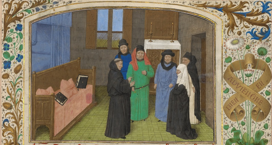 A Monk and Guy's Widow Conversing with the Soul of Guy de Thurno (detail) in The Vision of the Soul of Guy de Thurno, Simon Marmion, 1475. The J. Paul Getty Museum, Ms. 31, fol. 7