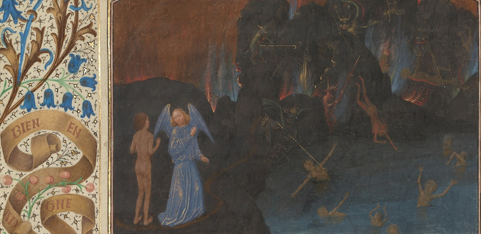 The Torment of Unbelievers and Heretics (detail) in The Visions of the Knight Tondal, about 1470, Simon Marmion. The J. Paul Getty Museum, Ms. 30, fol. 14v