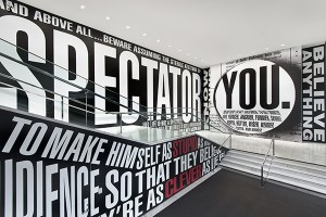 Hello / Goodbye, an installation by Barbara Kruger at the Hammer Museum