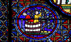 Stained glass window at Chartres Cathedral