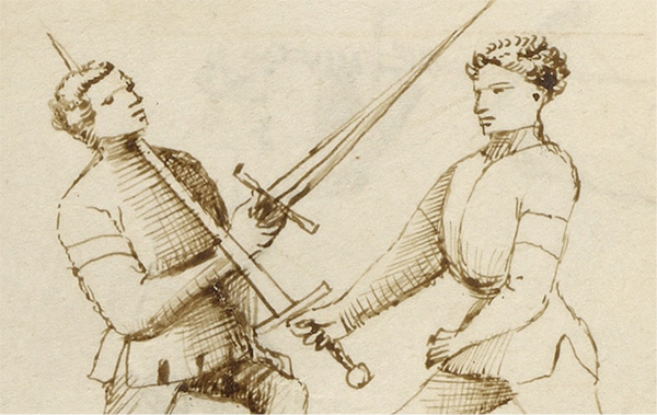 Details of two men fighting with swords in the medieval manuscript Flower of Battle