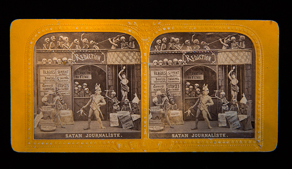 Stereograph with skeletons and Satan / French, 1860s or 1870s