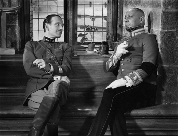 Pierre Fresnay and Erich von Stroheim in a black and white still from The Grand Illusion