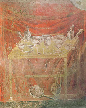 Wall painting from Pompeii showing silver vessels on a table