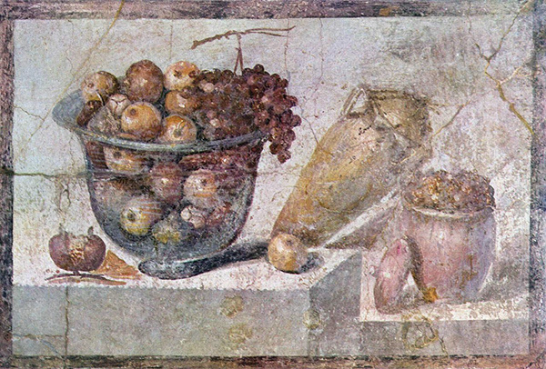 Pompeiian wall painting depicting autumn produce / Roman, A.D. 70