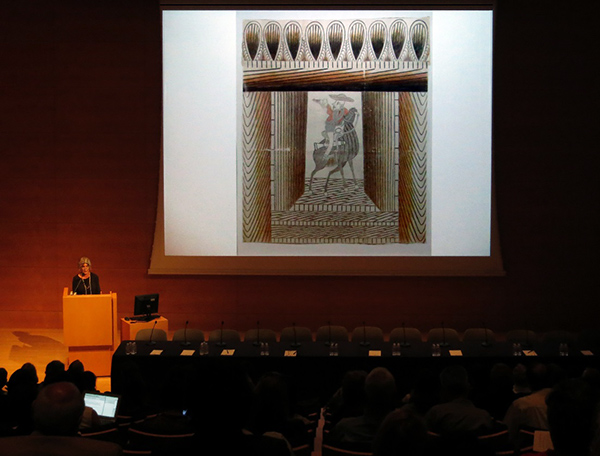 Elsa Longhauser, executive director of the Santa Monica Museum of Art speaks at a Pacific Standard Time convening at the Getty Center