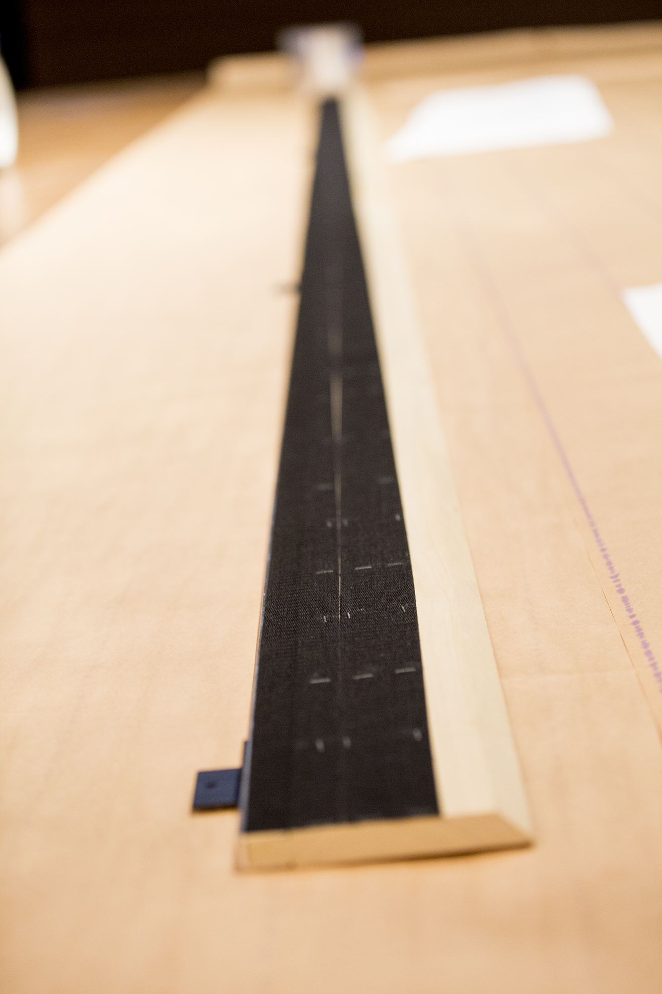 A close up of the Velcro board before it's attachment to the wall