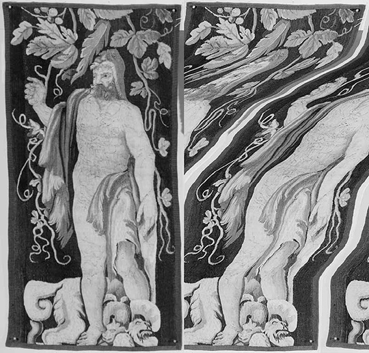 Digital decay on a black and white image of a tapestry from the Getty Research Institute