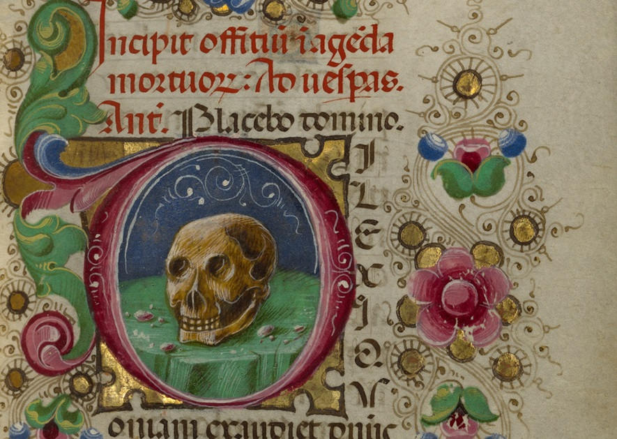 Initial D: A Skull from Gualenghi-d'Este Hours, Taddeo Crivelli, about 1469. The J. Paul Getty Museum, Ms. Ludwig IX 13, fol. 106