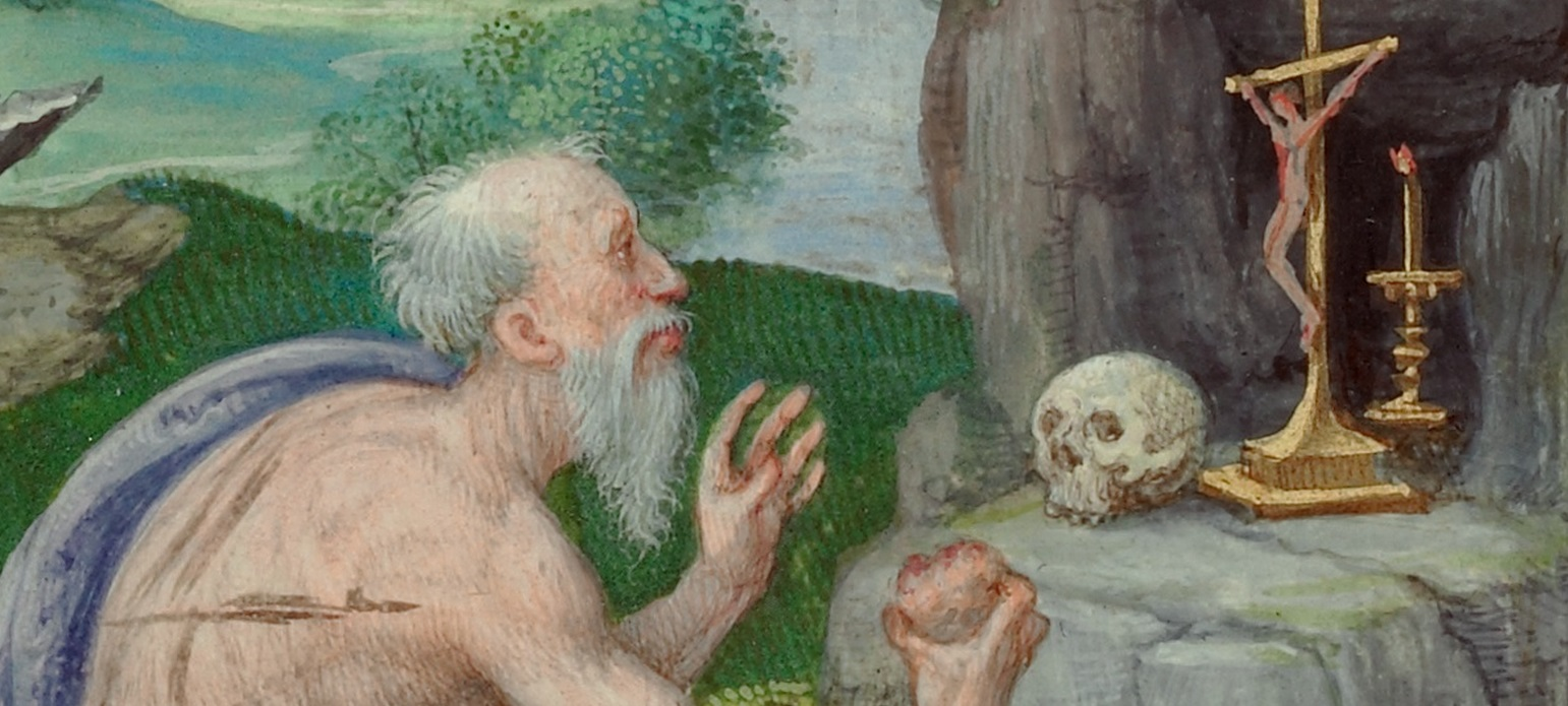 Saint Jerome (detail) in Epistles, Master of the Getty Epistles, about 1528 - 1530. The J. Paul Getty Museum, Los Angeles, Ms. Ludwig I 15, fol. 1v