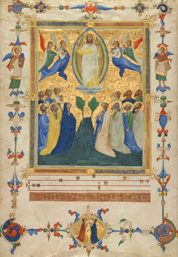 The Ascension of Christ from the Laudario of Sant'Agnese, Pacino di Bonaguida, about 1340. The J. Paul Getty Museum, Ms. 80a, verso