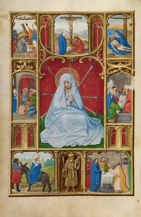 The Seven Sorrows of the Virgin from Prayer Book of Cardinal Albrecht of Brandenburg, Simon Bening, about 1525-30. The J. Paul Getty Museum, Ms. Ludwig IX 19, fol. 251v