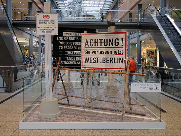 Memorial for the 25th anniversary of the fall of the Berlin Wall in a shopping mall