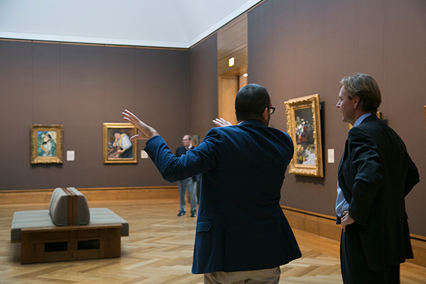 Scott Allan and Timothy Potts in the Getty Center's Impressionist gallery (West Pavilion, Gallery W204)