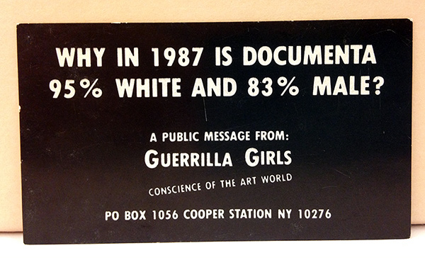 Guerrilla Girls' calling card passed out at the opening of documenta 8, Kassel, 1987