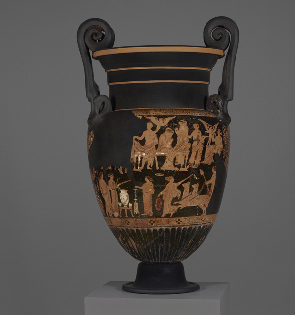 Panther-chariot: Funerary Vessel with the Marriage of Herakles and Hebe (detail), 375–350 B.C., associated with the Group of the Moscow Pelike. Terracotta, 43 11/16 in. Antikensammlung, Staatliche Museen zu Berlin