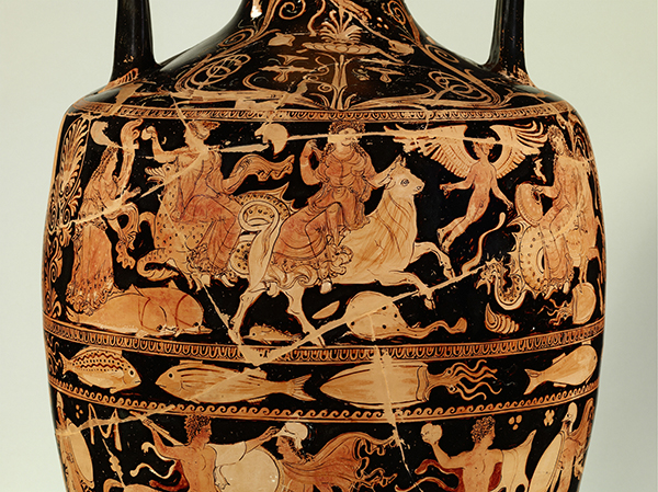 Funerary Vessel with Eros; Europa on the Bull; and Lapiths Battling Centaurs (details), 350–325 B.C., Connected with the work of the Darius Painter and Perrone Painter. Made in Ceglie del Campo, Italy, Apulia. Terracotta, 38 9/16 in. Antikensammlung, Staatliche Museen zu Berlin. © Staatliche Museen zu Berlin, Antikensammlung. Photo: Johannes Laurentius