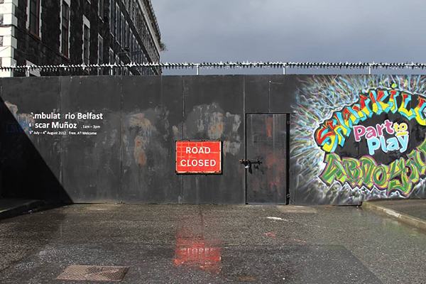 Road closure at the Belfast peace wall