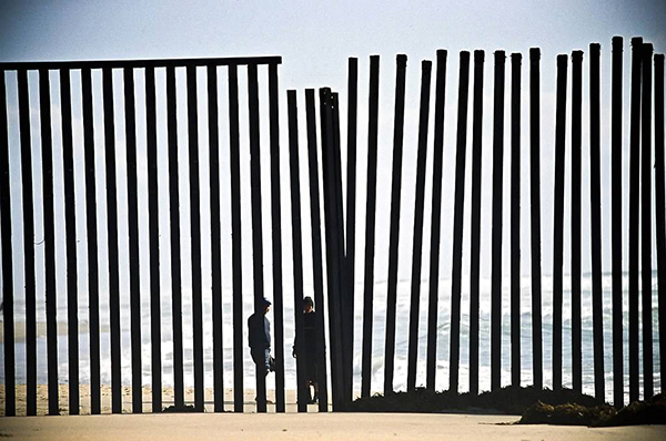 Beach fence between the US and Mexico