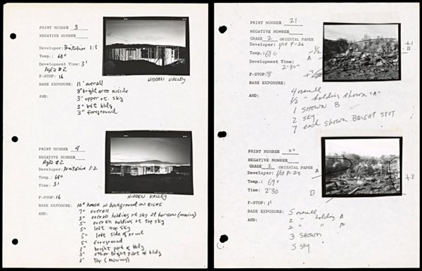 Negatives and notes by Lewis Baltz