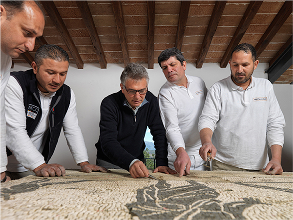 Roberto Nardi (center) with MOSAIKON training participants at CCA headquarters outside Rome