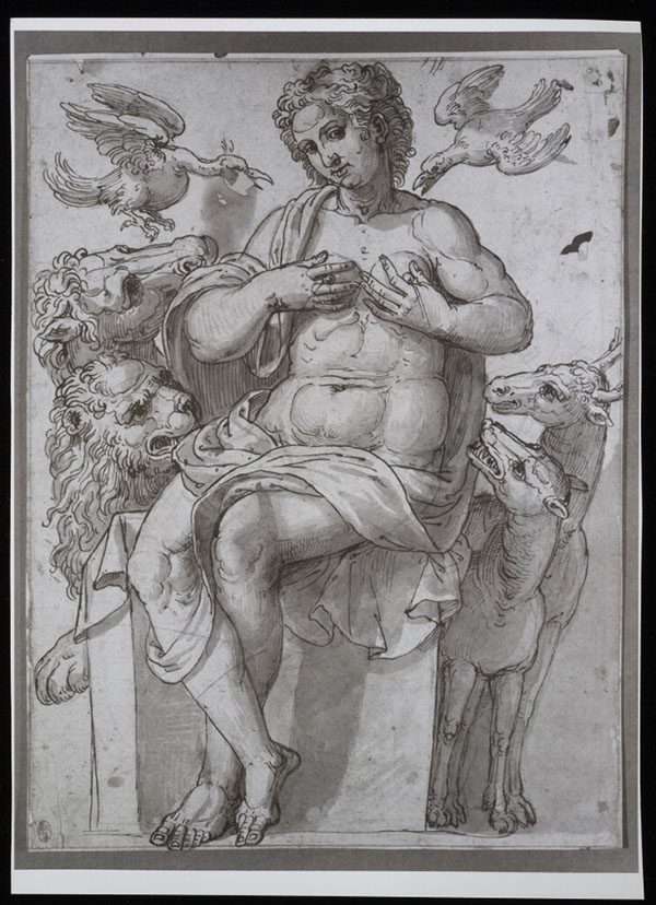Black and white photo of Allegorical Female Figure with Animals / Peter Floetner