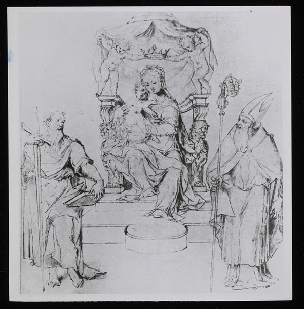Study photograph of an unsigned drawing of Virgin Mary with the Christ Child and two saints