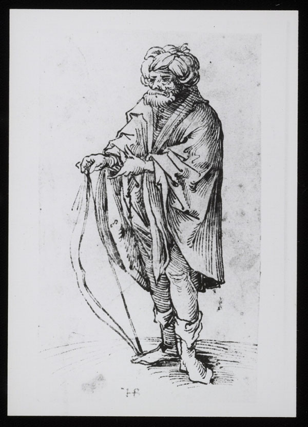 Black and white photograph of an unsigned drawing of a man holding a bow