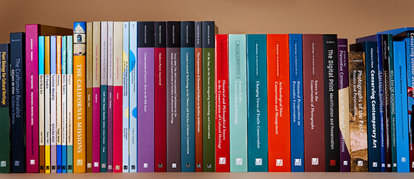 Shelf of books published by the Getty Conservation Institute