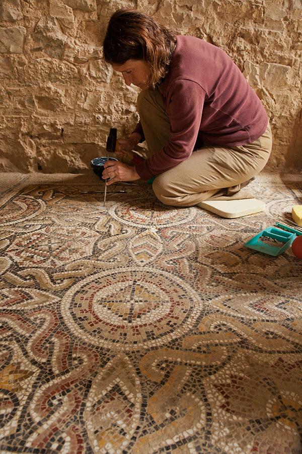 Conservation work on mosaics in the Mediterranean