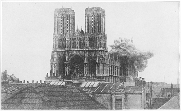 A shell bursts on the cathedral of Rheims during World War I