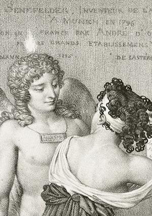 The Genius of Lithography (detail of figures) / Nicolas-Henri Jacob