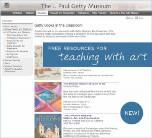 Getty Books in the Classroom - free resources for teaching with art