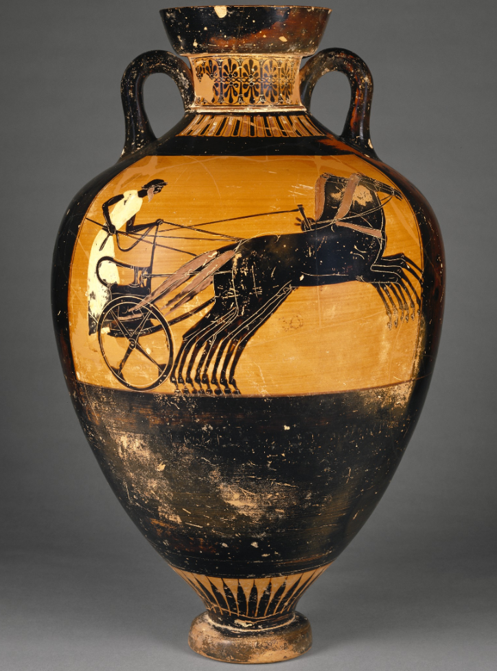 Attic Panathenaic Amphora, 490 -480 B.C., Greek. 25 9/16 inches by 15 7/8 inches. J. Paul Getty Museum.