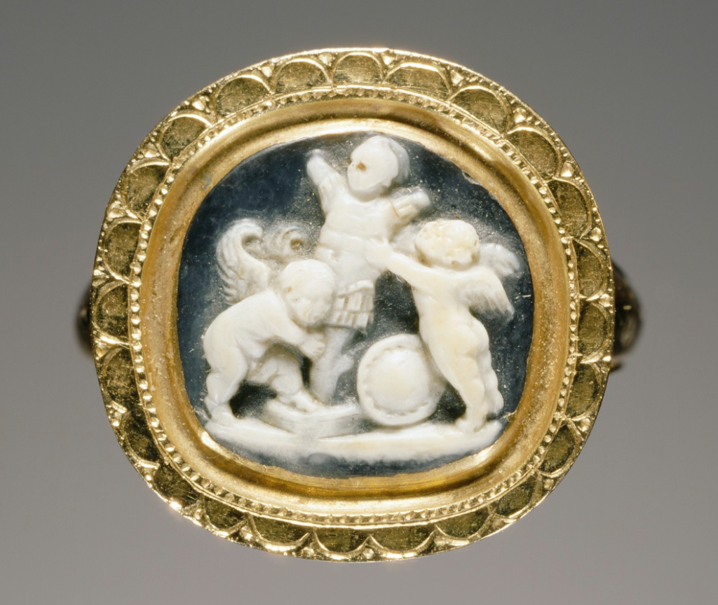 Cameo set into a ring, gem from 1st century, ring is modern, Roman. 1/2 inches. J. Paul Getty Museum.