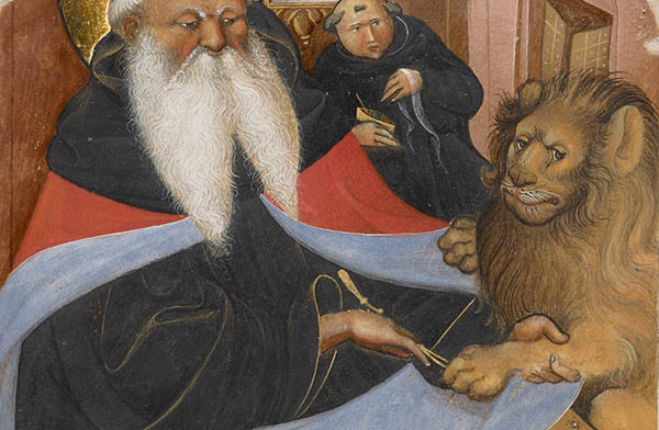 Saint Jerome Extracting a Thorn from a Lion's Paw, second quarter of 15th century, Master of the Murano Gradual, Italian. J. Paul Getty Museum.