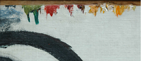 Detail of the palette at the top edge of Picasso's Femme