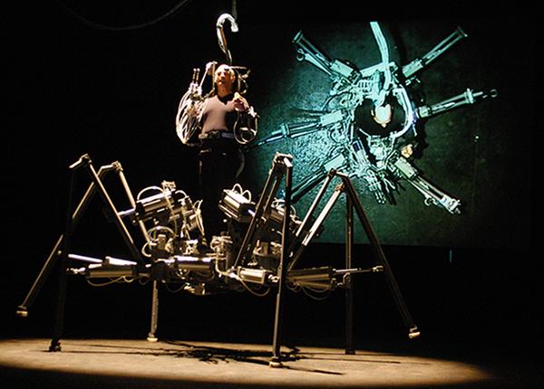 Exoskeleton, 2003, Stelarc. At Cankarjev Dom in Ljubljana, Slovenia. Image by Igor Skafar, courtesy of Stelarc.