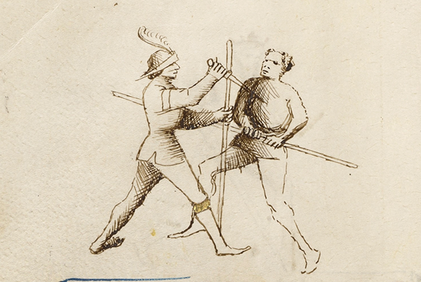 Combat with Dagger and Staff, about 1410, Italian. Flower of Battle. J. Paul Getty Museum.