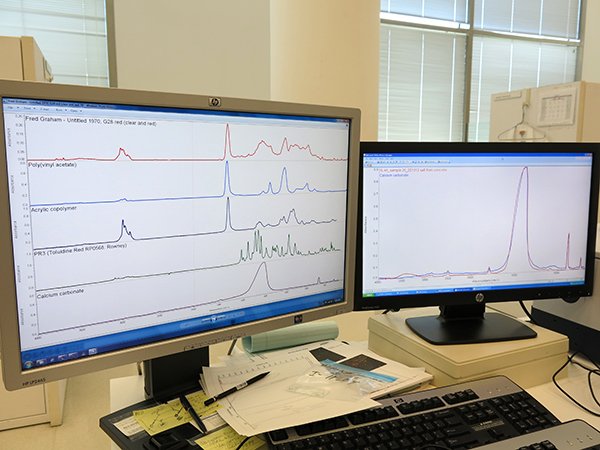 Computer monitors displaying spectra from materials tested via FTIR