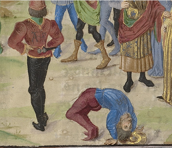 Detail of The Competition in Sittacene and the Placating of Sisgambis, about 1470 - 1475, Master of the Jardin de vertueuse consolation. French and Flemish. J. Paul Getty Museum.