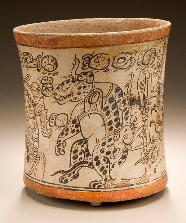 Drinking Vessel Depicting Otherworldly Toad, Jaguar, and Serpent