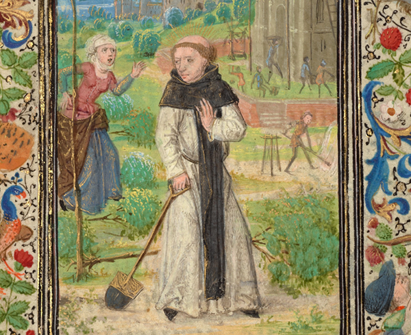 Detail of Saint Fiacre and the Shrew Houpdee, 1469, Lieven van Lathem. Flemish. J. Paul Getty Museum.