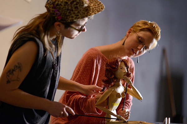 Puppeteers Molly Allis and Alexis Macnab rehearsing Tungsten (artery)
