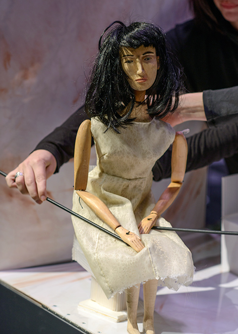 Rehearsal for Tungsten (artery) showing the puppet of Cora