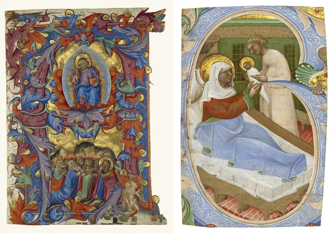 Initial A: The Ascension, Attributed to Turone di Maxio, about 1356-87. Private collection, San Francisco; Initial G: The Birth of the Virgin, Master of the Murano Gradual, second quarter of the fifteenth century. Collection of Robert McCarthy