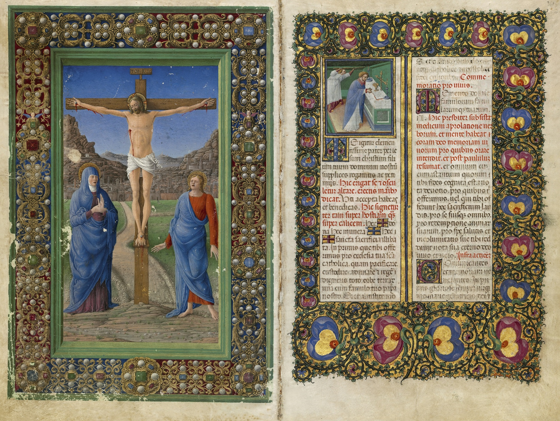 The Crucifixion; A Priest Celebrating Mass from Missal of Barbara of Brandenburg Gonzaga, Girolamo da Cremona (left) and Belbello da Pavia (right), 1442-65. Mantua, Archivio Storico Diocesano, Ms. s.s., fols. 182v-183 (Photo: Roberto Bini for the facsimile edition, © Il Bulino edizioni d'arte, Italy)