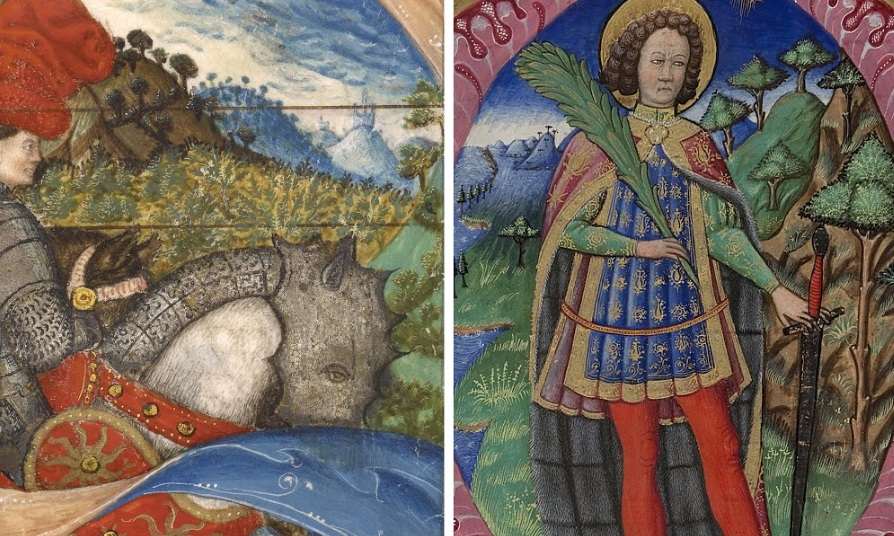 Attributed to Pisanello and the Master of the Antiphonal Q of San Giorgio Maggiore (left) The J. Paul Getty Museum Ms. 41, verson Master of the Antiphonal Q of San Giorgio Maggiore (right) Fondazione Giorgio Cini, Venice Inv. 2112
